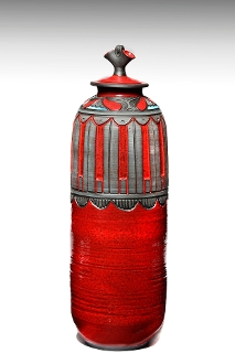 Cylindrical Covered Jar with Vertical Detailing